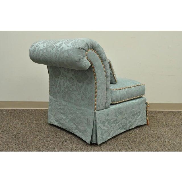 Vanguard Furniture Rolled Back Blue Upholstered Slipper Chair - Image 6 of 11