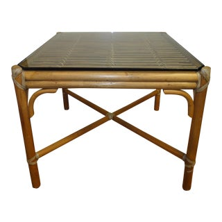 McGuire Rattan Side Table with Original Glass, 1970