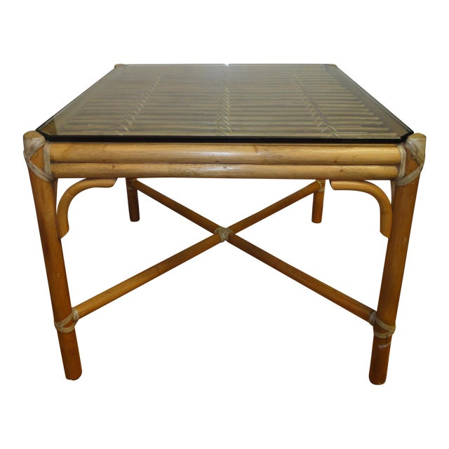 McGuire Rattan Side Table with Original Glass, 1970 - Image 1 of 4