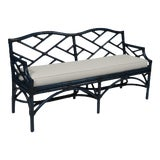 Image of Chippendale Bench - Navy Blue For Sale
