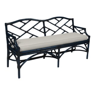 Chippendale Bench - Navy Blue For Sale