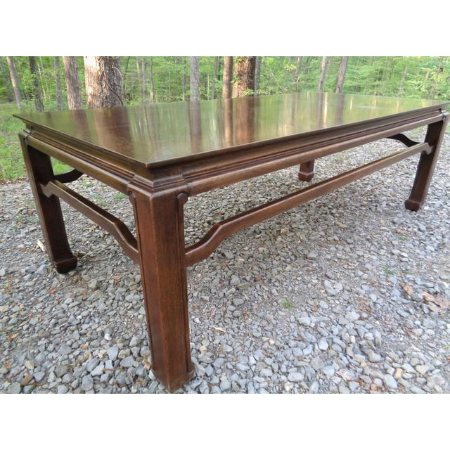Brown Mid Century Quartersawn Oak Chinoiserie Coffee Table For Sale - Image 8 of 13
