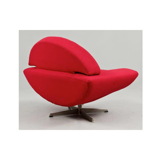 """An original """"Capri"""" swivel lounge chair designed in 1958 by Johannes Anderson for Trensum of Sweden. This chair produced..."""