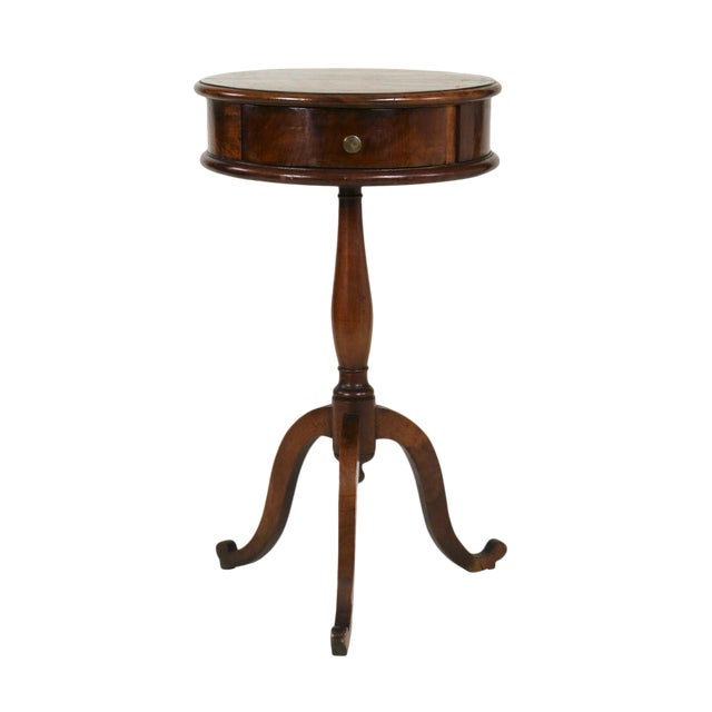 1890s English Round Fruitwood Tripod Bas & Single Drawer Pedestal Table For Sale