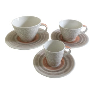Villeroy & Boch Amarah Taupe Premium Porcelain Cups & Saucers - Set of 6