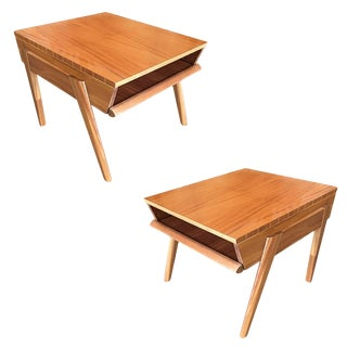 Brown-Saltman Magazine Tray Side Table by John Keal, Pair For Sale