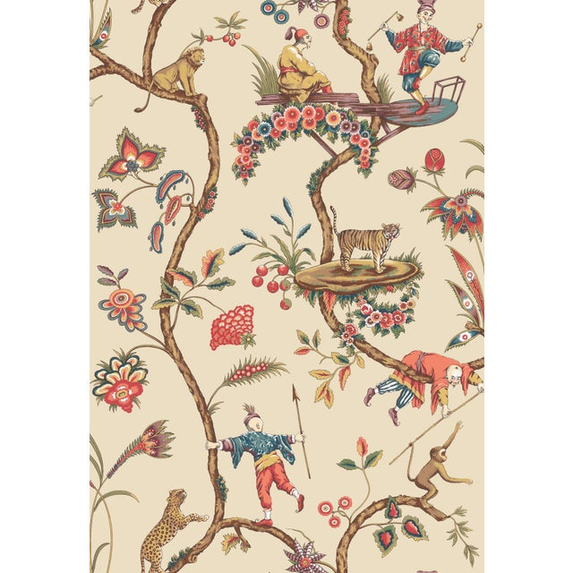 Transitional Red by Scalamandre Peel & Stick Wallpaper, Chinoise Exotique, Ecru For Sale - Image 3 of 3