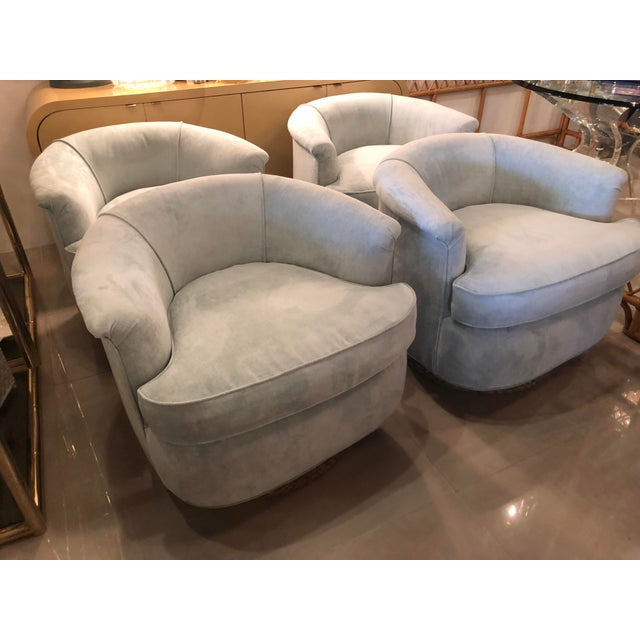 Beautiful set of four vintage tub, barrel, swivel armchairs, armchairs. These are newly upholstered in a light green,...