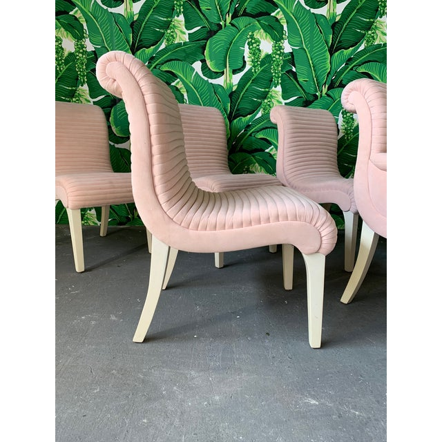 Hollywood Regency Set of Six Sculptural Pink Tufted Dining Chairs For Sale - Image 3 of 11