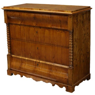 1900s Danish Biedermeier Burlwood Commode