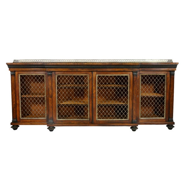 Regency Rosewood, Ebonized and Bronze Mounted Credenza or Cabinet For Sale
