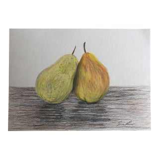 """Final Price! """"Pair of Pears"""" Original Colored Pencil Still Life Drawing For Sale"""