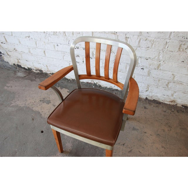 1950s 1950s Shaw Walker Maple and Aluminium Armchair With Leather Seat For Sale - Image 5 of 10