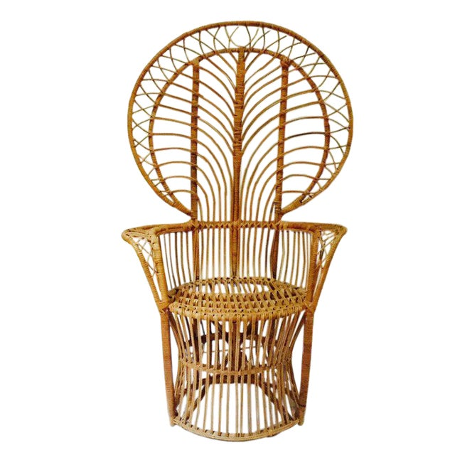 Mid Century Franco Albini Style Peacock Chair Bent Bamboo Fan Back Chair For Sale