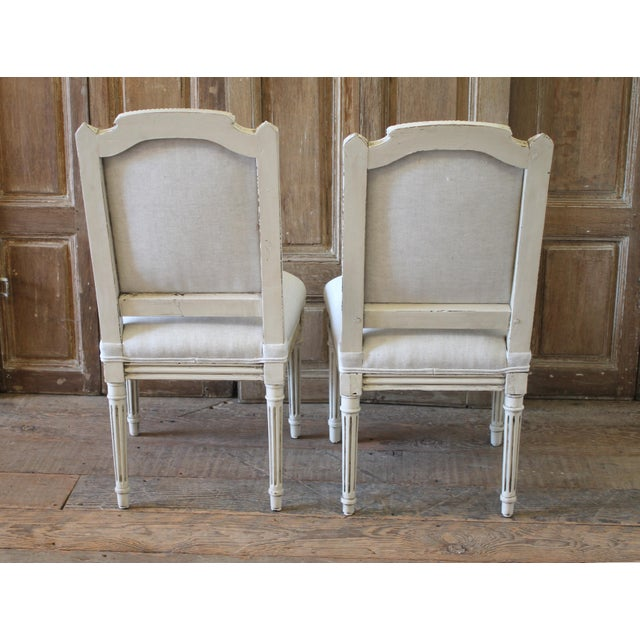 Early 20th Century Louis XVI Style Painted and Upholstered Childs Chairs - a Pair For Sale - Image 11 of 13