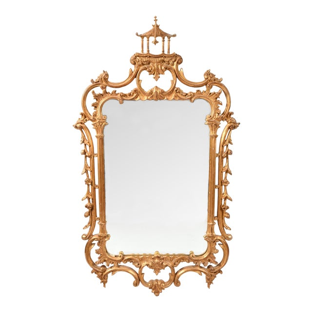 Early 20th Century Chippendale Carved Wood Beveled Hanging Wall Mirror For Sale