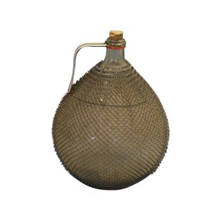 French Jug With Wire Mesh Covering and Original Cork