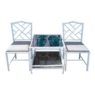 Palm Beach Regency 3 Piece Set Mastercraft Metal Faux Bamboo Fretwork Chippendale Outdoor Patio Chairs Table For Sale