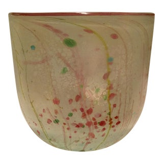 Mid Century Pastel Art Glass Vase For Sale