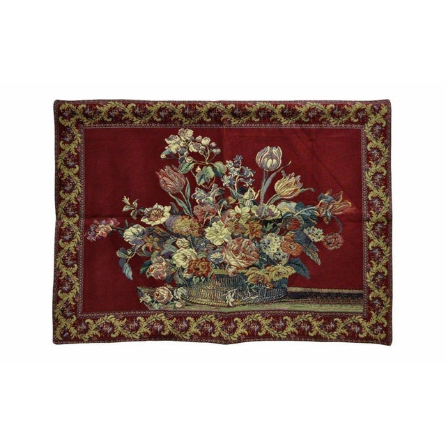 """Red 51"""" X 36"""" French Wall Hanging Tapestry Jacquard Acanthus Floral Still Life Red For Sale - Image 8 of 8"""
