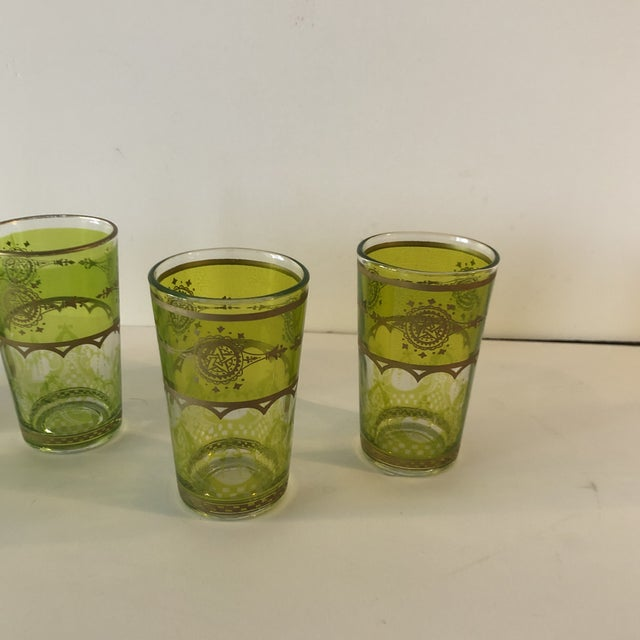 Set of (6) Green and Gold Moroccan Mini Tea Glasses For Sale - Image 4 of 7