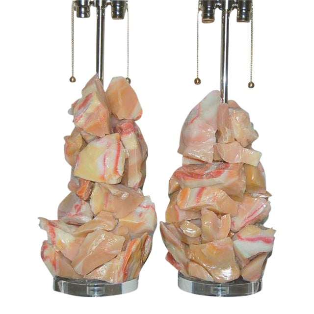 Gold Glass Rock Table Lamps by Swank Lighting Peach Pink For Sale - Image 8 of 8