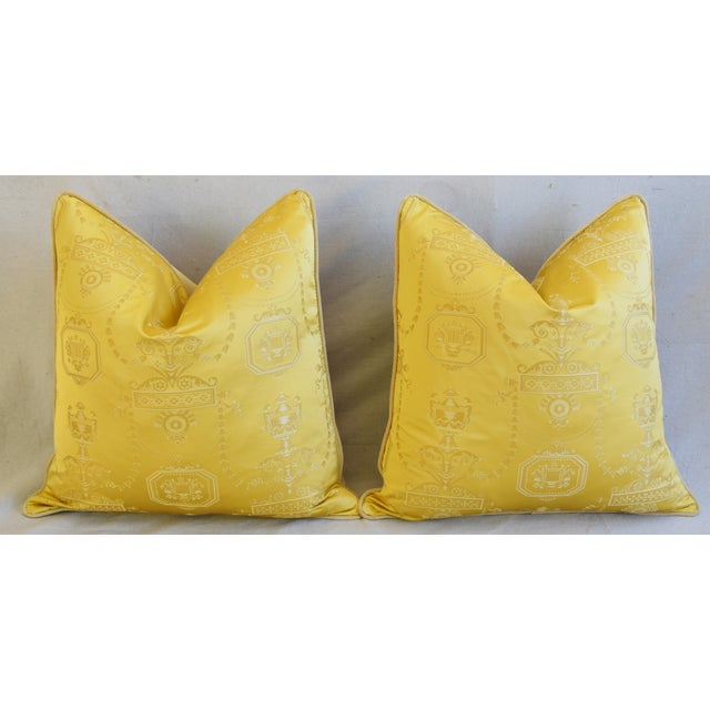 """Designer Italian Golden Silk Lampas Feather/Down Pillows 24"""" Square - Pair For Sale In Los Angeles - Image 6 of 12"""