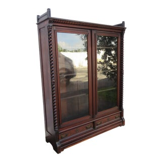 Early 1880s Victorian Tall Large Bookcase China Display Cabinet Cupboard For Sale