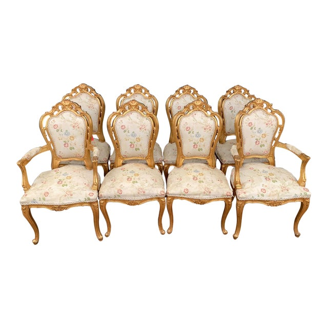 Antique Gold Leaf Louis XIV Style Chairs - Set of 8 For Sale
