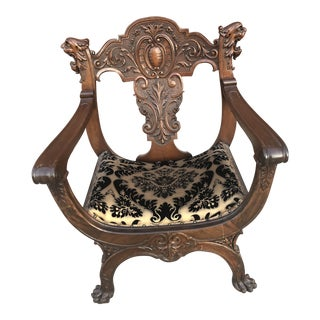 Antique Victorian Carved Lion Head and Lion Paw Feet SavonarolaThrone Chair For Sale