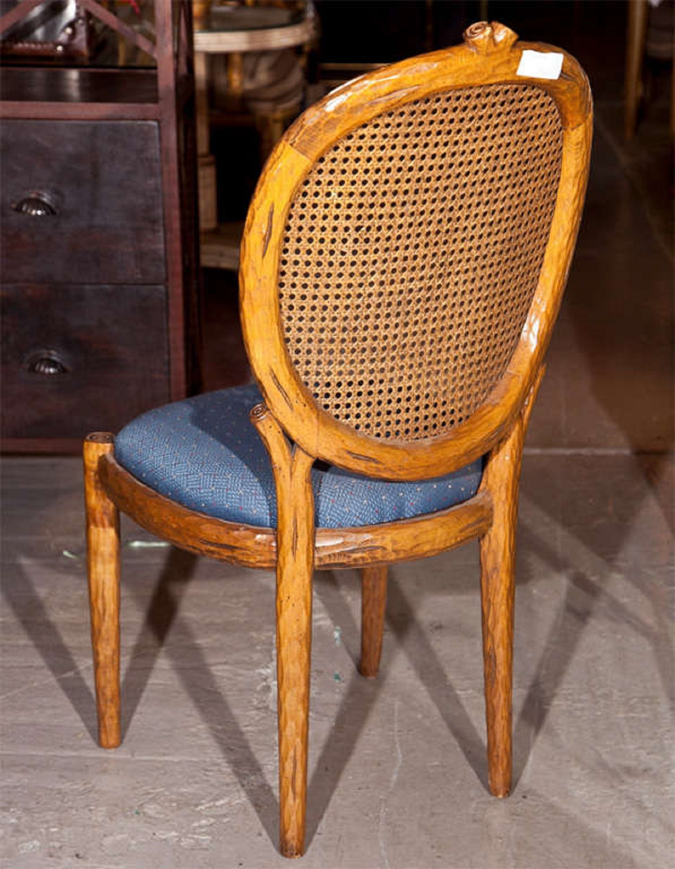 Blue French Louis XIV Style Caned Side Chairs   A Pair For Sale   Image 8