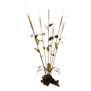 Brutalist Oversized Copper Kinetic Cattail Sculpture on Burl Wood For Sale