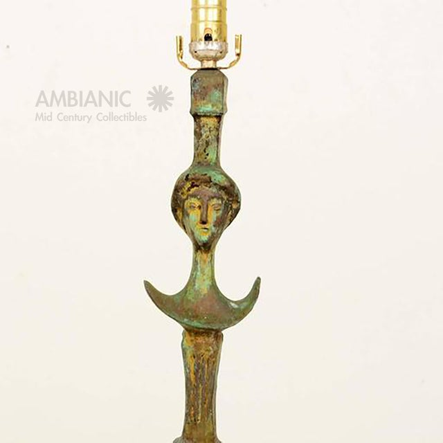 Pair of Tete De Femme Table Bronze Lamps For Sale In San Diego - Image 6 of 10