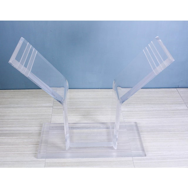 Glass 1970s Lucite Pedestal Console For Sale - Image 7 of 11