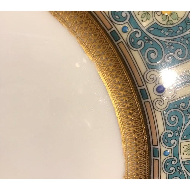 Traditional Hand Enameled Blue and Gold Dinner Service Plates - Set of Eleven For Sale - Image 3 of 12
