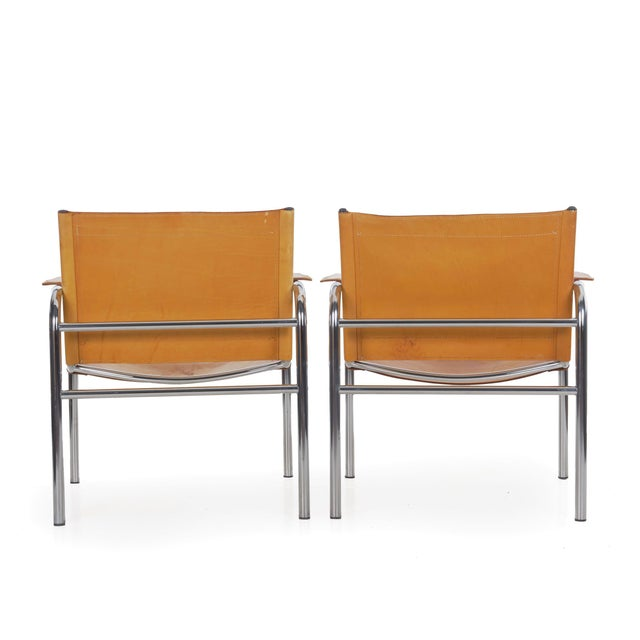 """Circa 1970s Vintage Chrome and Leather """"Klint"""" Arm Chairs by Tord Bjorklund - a Pair For Sale - Image 4 of 13"""