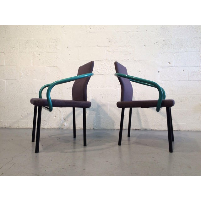 Modern Ettore Sottsass Mandarin Chairs for Knoll - A Pair For Sale - Image 3 of 11