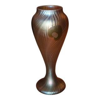 Frederic Carders Steuben Glassworks Aurene Flowers & Vines Vase - Masterpiece For Sale