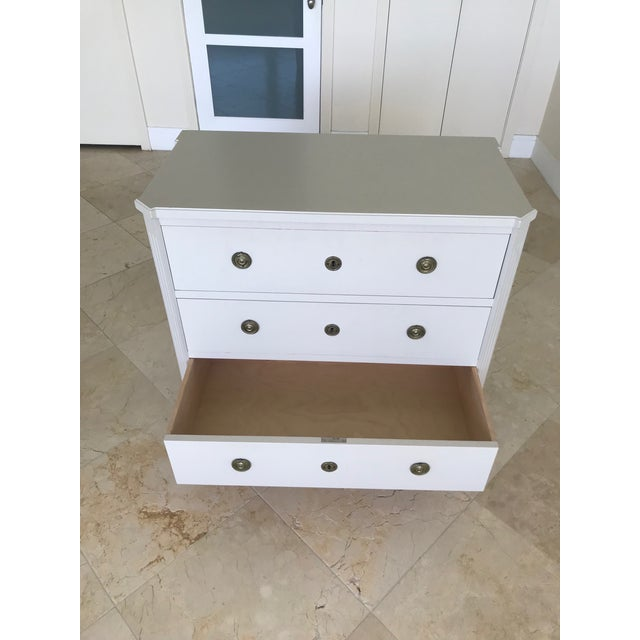 White Swedish Gustavian Chest of Drawers Hand Painted in Ivory For Sale - Image 8 of 13