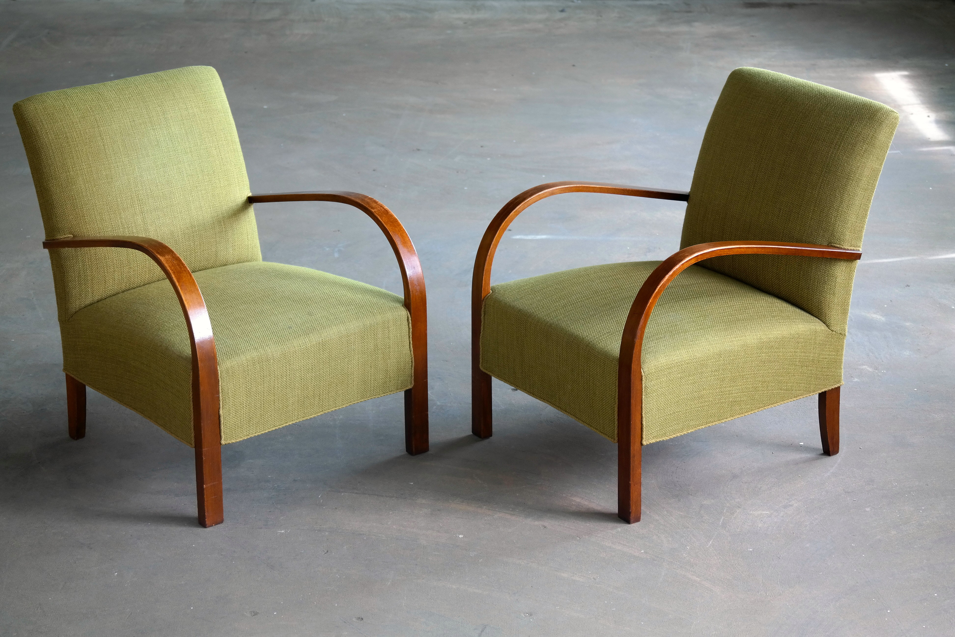 A Pair Of Early Midcentury Danish Art Deco Low Lounge Chairs For Sale    Image 11