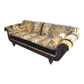 1960s Antique Gianni Versace Zhara Collection Ivory Gold Upholstery Settee For Sale