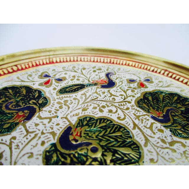 Enamel and Brass Peacock Trinket Dish Bowls - Set of 5 - Image 5 of 11