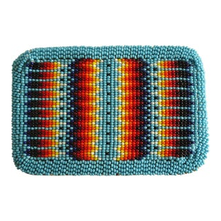 Vintage Southwestern Loomed Glass Bead Belt Buckle