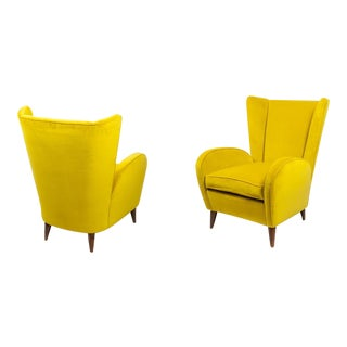 Paolo Buffa Pair of Armchair Covered With Yellow Velvet Italy 1950