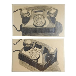 Telephone Pencil Drawing - a Pair For Sale
