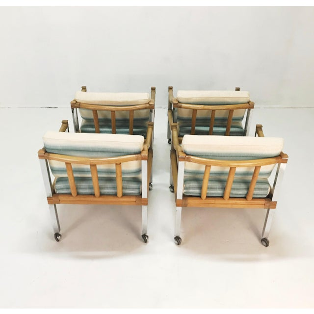 Mid-Century Modern Wrapped Rattan & Chrome Armchairs - Set of 4 For Sale - Image 3 of 6