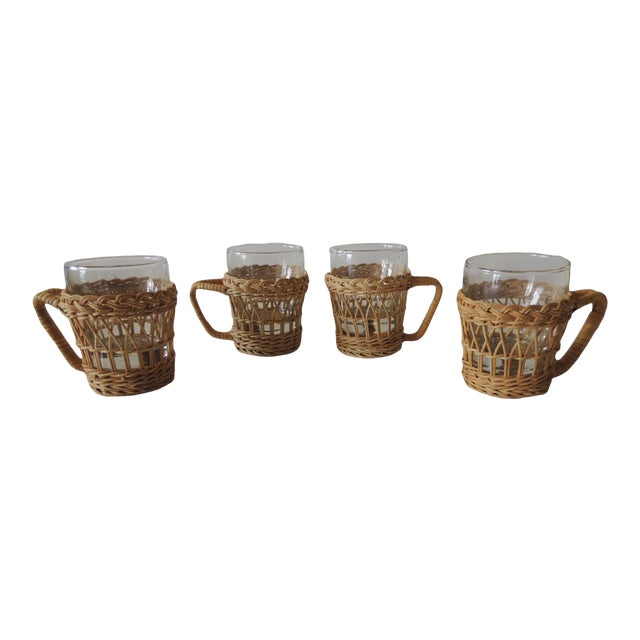 Set of (4) Woven Rattan Holders Drinking Glasses For Sale