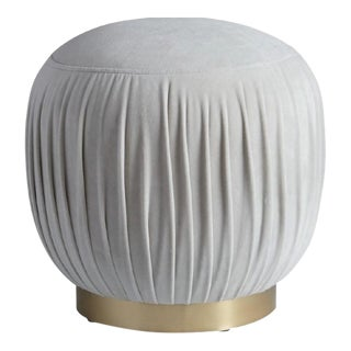 Velvet Round Brass Ottoman