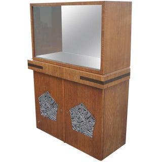 Art Deco Walnut Vitrine China Cabinet For Sale