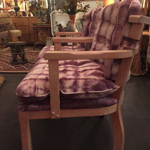 Vintage Lined Wood Armchairs on Casters - A Pair - Image 5 of 10